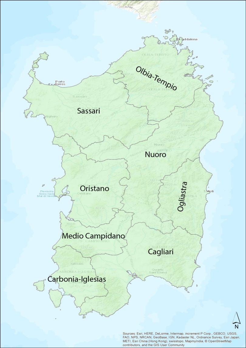 Regionen von Sardinien